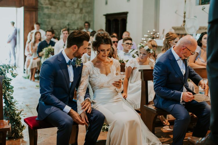 Church Wedding Ceremony | Bride in Morgan Davies Gown | Groom in Suit Supply | D&A Photography | Ben Walton Films