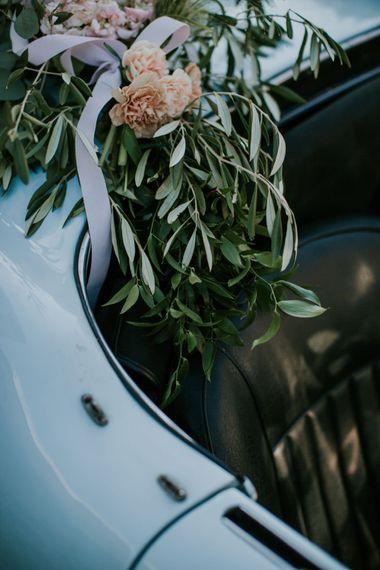 Flowers on Vintage Wedding Car | D&A Photography | Ben Walton Films