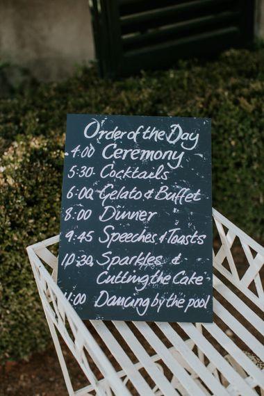 Chalkboard Wedding Sign | Tuscan Wedding Planned by Romeo & Juliet Weddings | D&A Photography | Ben Walton Films