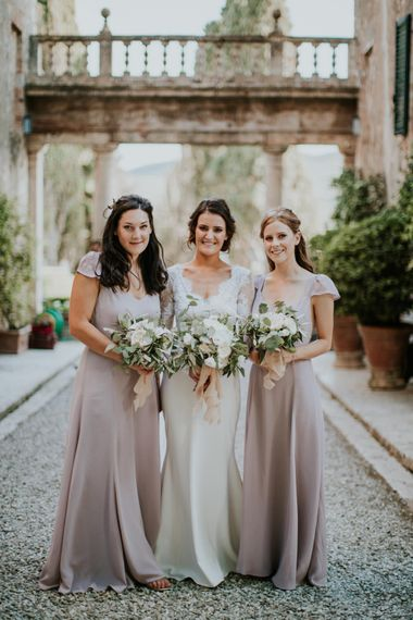 Bride in Morgan Davies Gown | Bridesmaids in Blush Pink Reformation Dresses | D&A Photography | Ben Walton Films