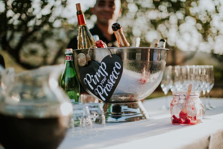 Pimp Your Prosecco Station | Tuscan Wedding Planned by Romeo & Juliet Weddings | D&A Photography | Ben Walton Films