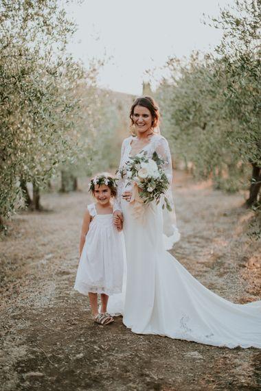 Bride in Morgan Davies Gown | Flower Girl in Tea Princess Dress | D&A Photography | Ben Walton Films