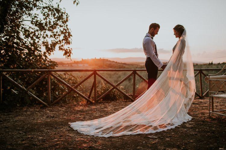 Golden Hour | Bride in Morgan Davies Gown | Groom in Suit Supply | D&A Photography | Ben Walton Films