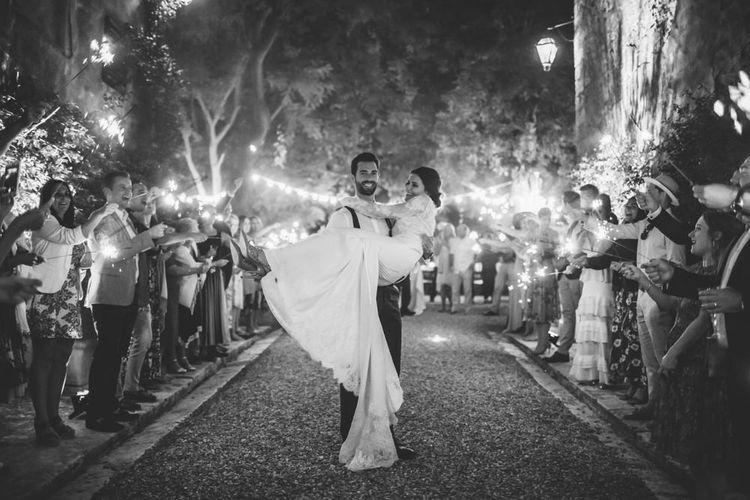 Sparkler Exit | Bride in Morgan Davies Gown | Groom in Suit Supply | D&A Photography | Ben Walton Films