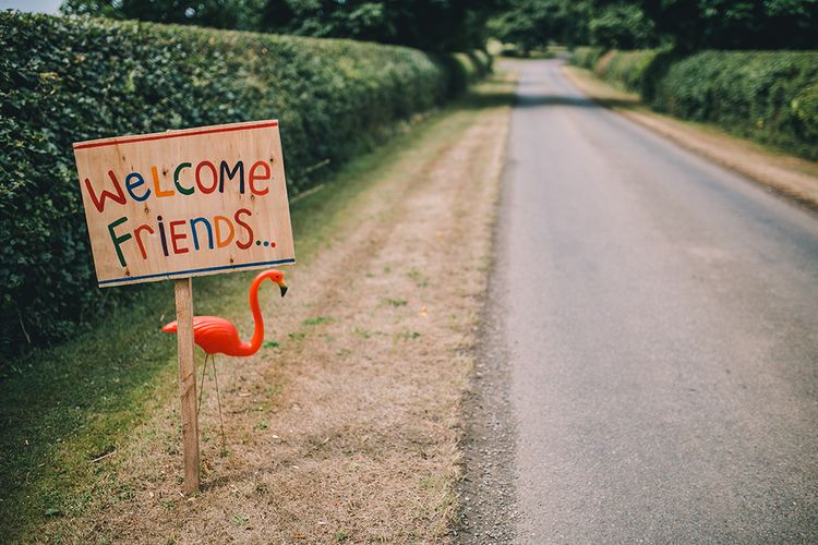 Colourful Welcome Sign For Wedding // Image By Story + Colour