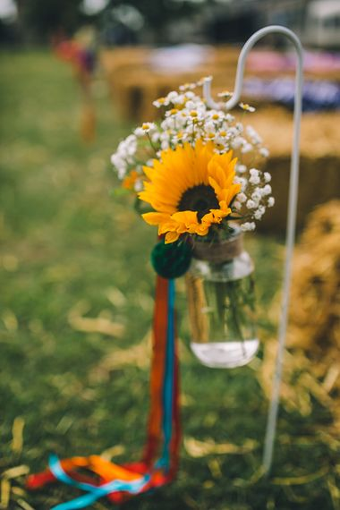 Sunflower Chair Backs For Wedding // Image By Story + Colour