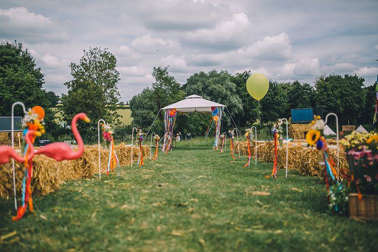 Haybale Seating For Outdoor Summer Wedding // Image By Story + Colour