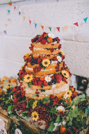 Naked Wedding Cake With Fresh Fruit // Image by Story + Colour