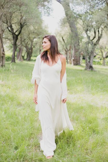 Bride in Charlie Brear Gown & Cashmere Wrap   Greenery on the French Riviera   Purewhite Photography   D'amour et de deco Styling