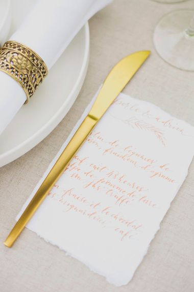 Gold Flatware & Calligraphy Stationery   Greenery on the French Riviera   Purewhite Photography   D'amour et de deco Styling