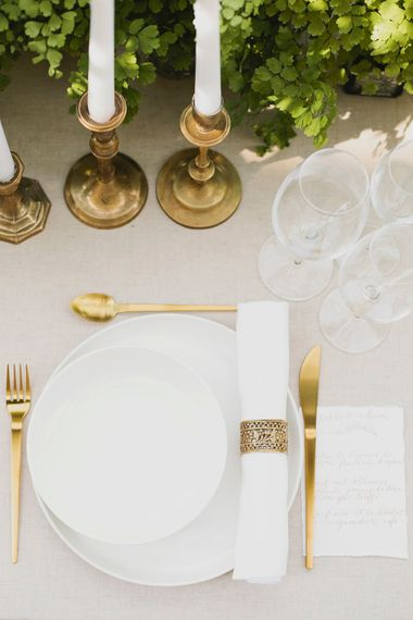 Gold Table Ware & Calligraphy Stationery   Greenery on the French Riviera   Purewhite Photography   D'amour et de deco Styling