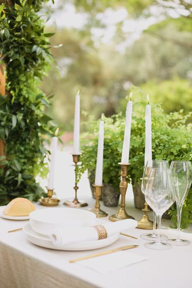 Gold Candle Sticks   Greenery on the French Riviera   Purewhite Photography   D'amour et de deco Styling