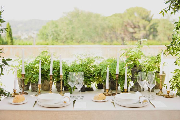 Gold Table Scape   Place Setting   Candlesticks   Greenery on the French Riviera   Purewhite Photography   D'amour et de deco Styling