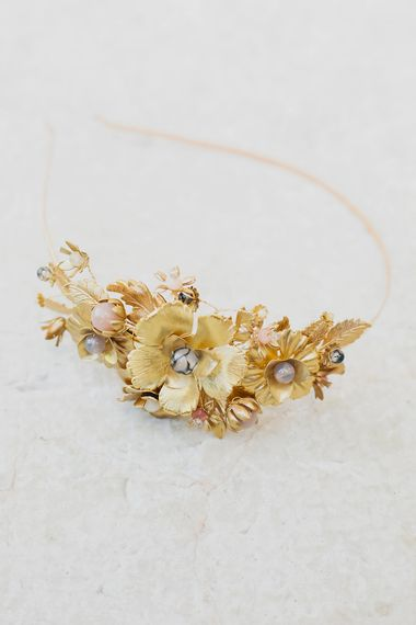 Gold Mignonne Handmade Bridal Headpiece   Greenery on the French Riviera   Purewhite Photography   D'amour et de deco Styling