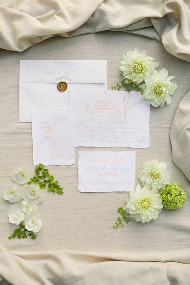Nice Plume Calligraphy Wedding Stationery Suite