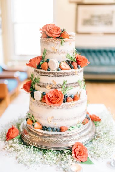 Naked Wedding Cake With Fresh Flowers & Fruit