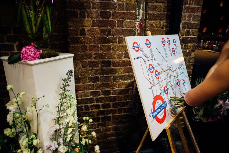 London Underground Map Table Plan | Urban Wedding at Village Underground, London | Marianne Chua Photography