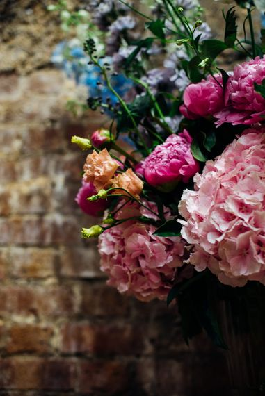 Brightly Coloured Hydrandeas, Stocks & Carnation Flower Arrangement | Urban Wedding at Village Underground, London | Marianne Chua Photography