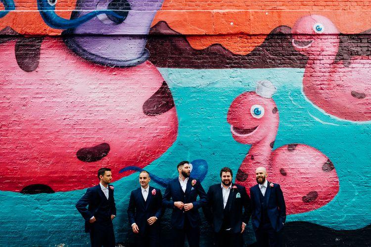 Groomsmen in Navy Yardsmen Suits | Urban Wedding at Village Underground, London | Marianne Chua Photography