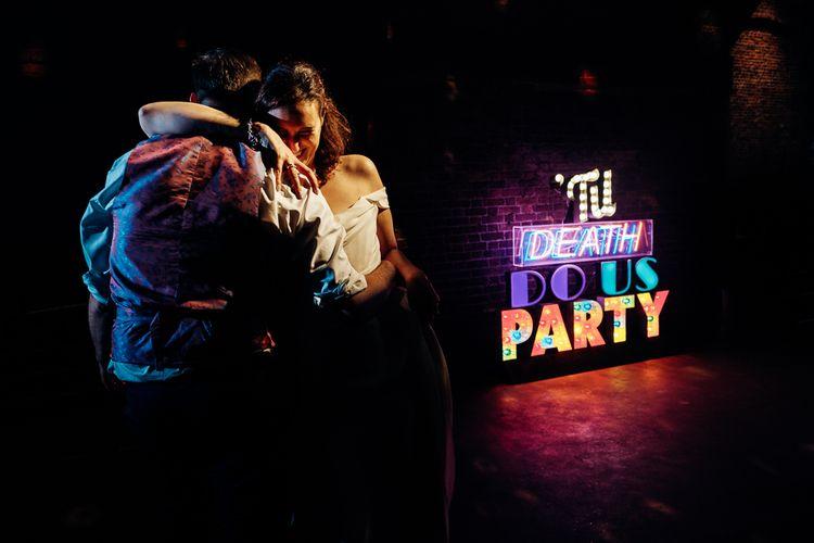 Neon Light | Bride in Halfpenny Separates | Groom in Yardsmen Suit | Urban Wedding at Village Underground, London | Marianne Chua Photography