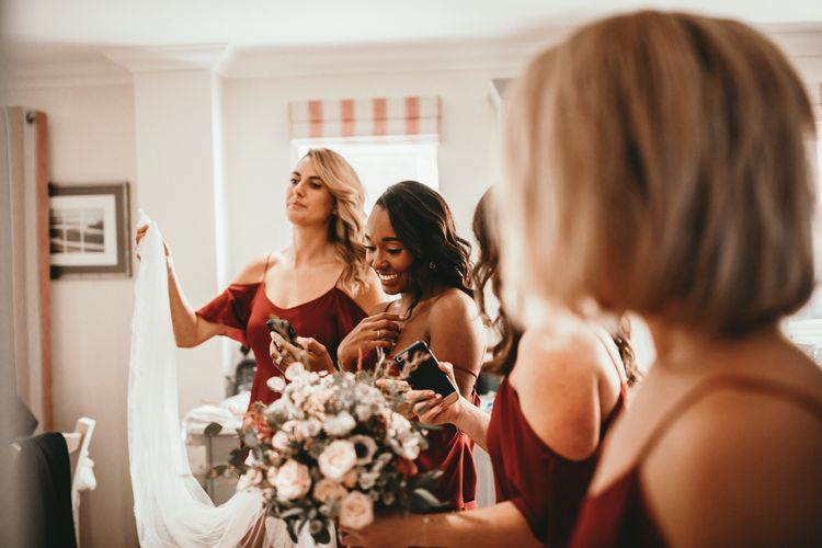 Rewritten Bridesmaids Dresses | Cold Shoulder Bridesmaids Dresses in Chianti