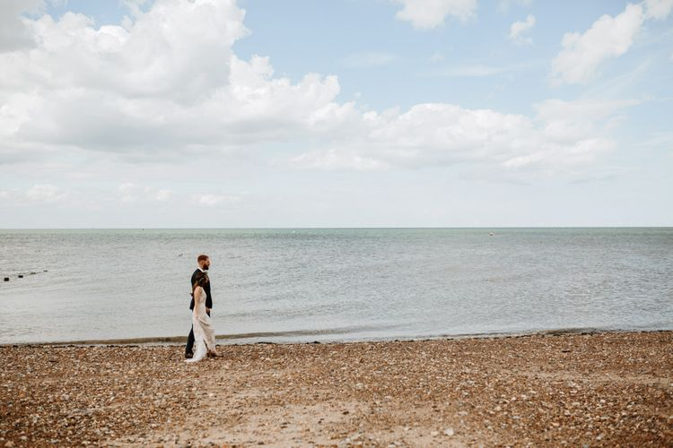Coastal Wedding At East Quay Venue Whitstable With Bride In Claire La Faye With Floral Crown And Images From Green Antlers Photography