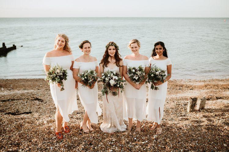 Bridesmaids In White Midi Dresses From River Island