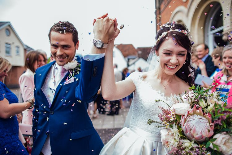 Bride in Aire Barcelona Bridal Gown & Groom in Ted Baker Confetti Moment