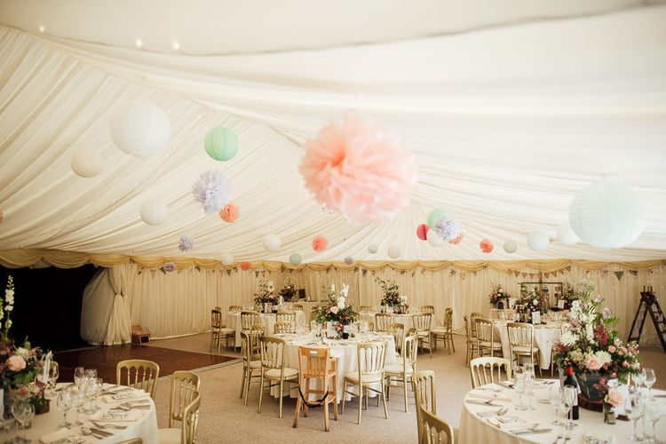 Pastel Marquee Reception at Hedingham Castle, Essex
