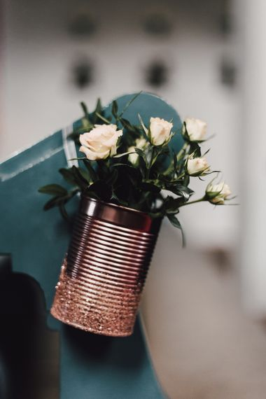Copper Tin Can with White Flowers | Paul & Nanda Photography