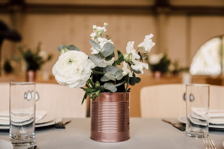 DIY Copper Tin Can & White Flowers | Wedding Decor | Paul & Nanda Photography