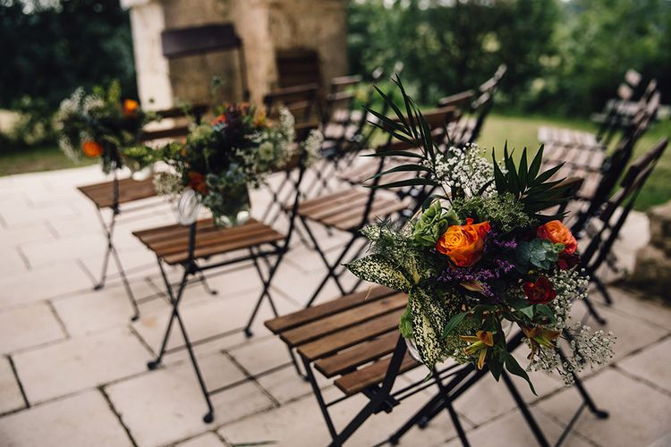 Greenery & Orange Chair Back Decor
