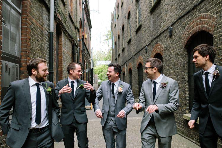Groomsmen in Grey Suits   Stylish Hackney Town Hall Wedding   Camilla Arnhold Photography   This Modern Revelry Film