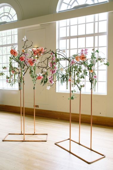 Copper Altar   Magnolia Branches   Stylish Hackney Town Hall Wedding   Camilla Arnhold Photography   This Modern Revelry Film