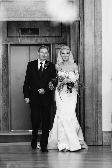 Bridal Entrance in Anna Sorrano Gown   Stylish Hackney Town Hall Wedding   Camilla Arnhold Photography   This Modern Revelry Film