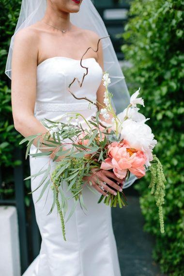 Succulents & Twisted Birch Wedding Bouquet   Stylish Hackney Town Hall Wedding   Anna Sorrano Wedding Dress   Camilla Arnhold Photography   This Modern Revelry Film