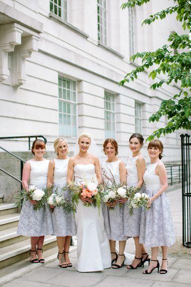 Bridesmaids in Grey & White Oasis Dresses   Anna Sorrano Wedding Dress   Stylish Hackney Town Hall Wedding   Camilla Arnhold Photography   This Modern Revelry Film