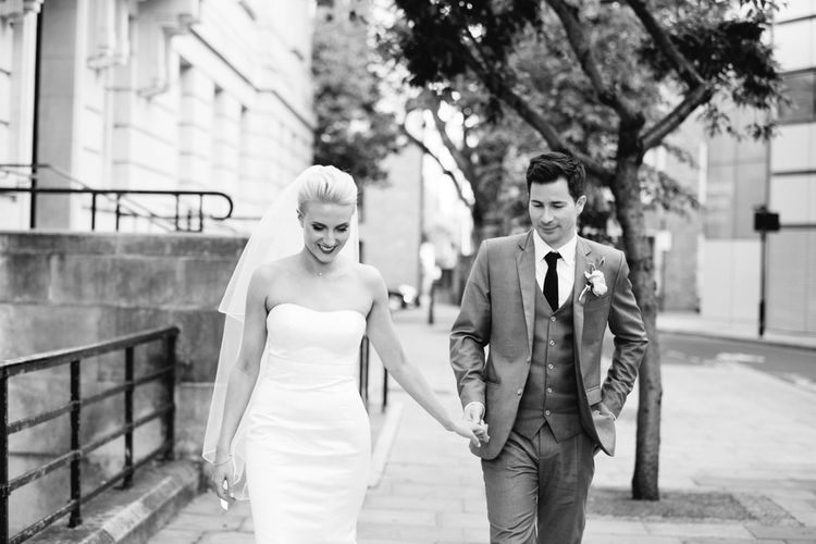 Bride in Anna Sorrano Gown   Groom in Grey Suit   Stylish Hackney Town Hall Wedding   Camilla Arnhold Photography   This Modern Revelry Film
