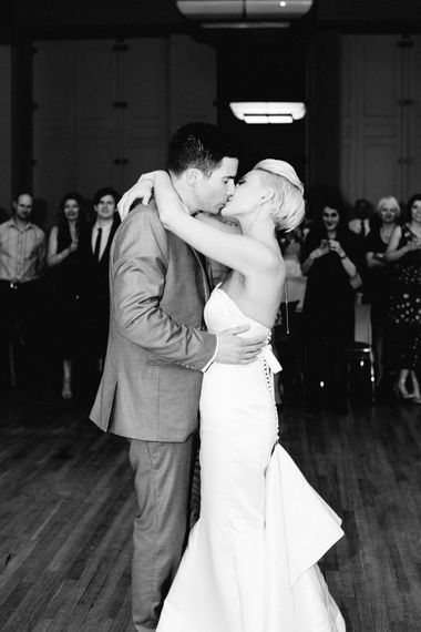 First Dance   Bride in Anna Sorrano Gown   Groom in Grey Suit   Stylish Hackney Town Hall Wedding   Camilla Arnhold Photography   This Modern Revelry Film