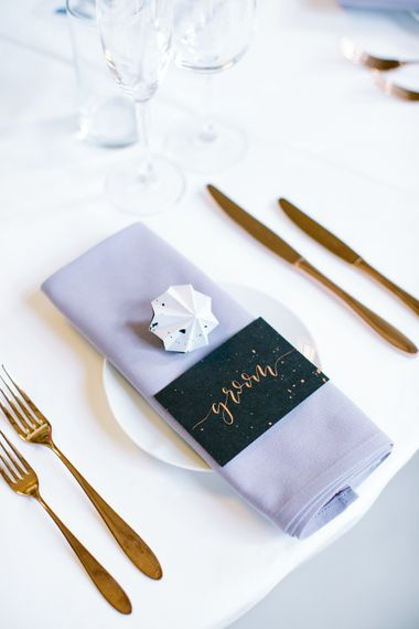 Grey & Copper Place Setting   Stylish Hackney Town Hall Wedding   Camilla Arnhold Photography   This Modern Revelry Film