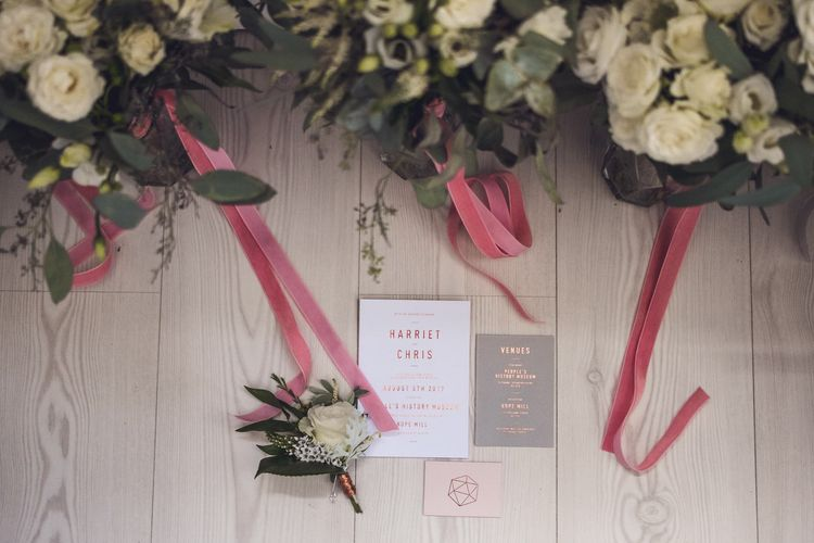 Grey & Copper Geometric Wedding Stationery | Contemporary City Wedding at People's History Museum & Hope Mill Theatre, Manchester Planned by Alternative Weddings MCR | Babb Photography