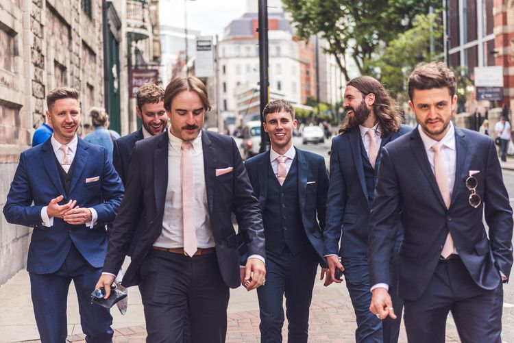 Groomsmen in Navy Suit | Contemporary City Wedding at People's History Museum & Hope Mill Theatre, Manchester Planned by Alternative Weddings MCR | Babb Photography