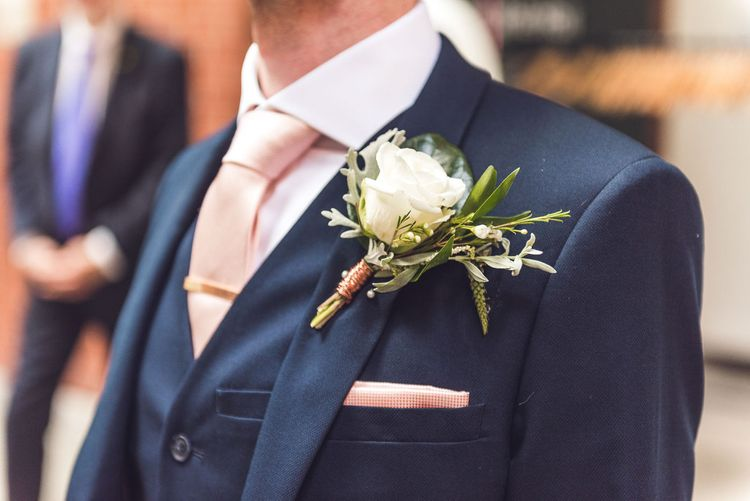 Buttonhole | Groom in Navy Suit | Contemporary City Wedding at People's History Museum & Hope Mill Theatre, Manchester Planned by Alternative Weddings MCR | Babb Photography