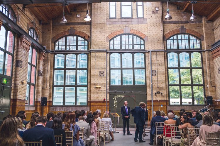 Wedding Ceremony | Groom in Navy Suit | Contemporary City Wedding at People's History Museum & Hope Mill Theatre, Manchester Planned by Alternative Weddings MCR | Babb Photography