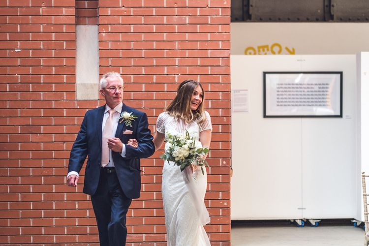 Wedding Ceremony | Bridal Entrance in Lenora Watters Gown | Contemporary City Wedding at People's History Museum & Hope Mill Theatre, Manchester Planned by Alternative Weddings MCR | Babb Photography