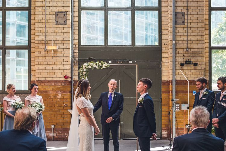Wedding Ceremony | Bride in Lenora Watters Gown | Groom in Navy Suit | Contemporary City Wedding at People's History Museum & Hope Mill Theatre, Manchester Planned by Alternative Weddings MCR | Babb Photography