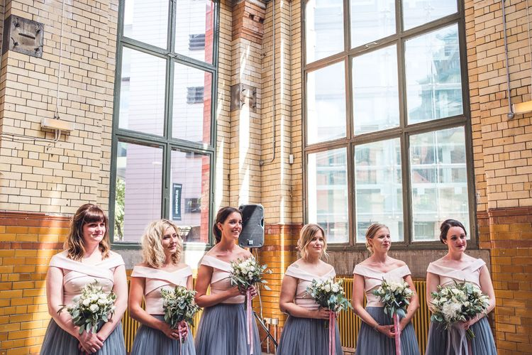 Wedding Ceremony | Bridesmaids in Separates | Contemporary City Wedding at People's History Museum & Hope Mill Theatre, Manchester Planned by Alternative Weddings MCR | Babb Photography