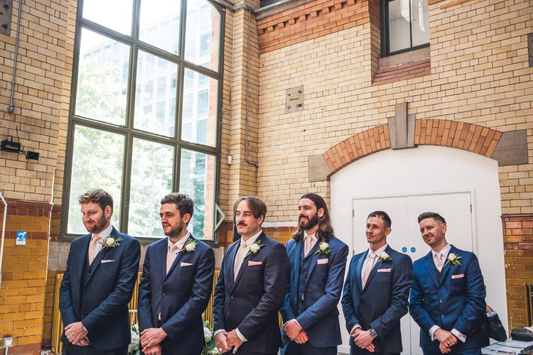 Wedding Ceremony | Groomsmen | Contemporary City Wedding at People's History Museum & Hope Mill Theatre, Manchester Planned by Alternative Weddings MCR | Babb Photography