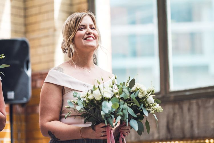 Wedding Ceremony | Bridesmaid | Contemporary City Wedding at People's History Museum & Hope Mill Theatre, Manchester Planned by Alternative Weddings MCR | Babb Photography