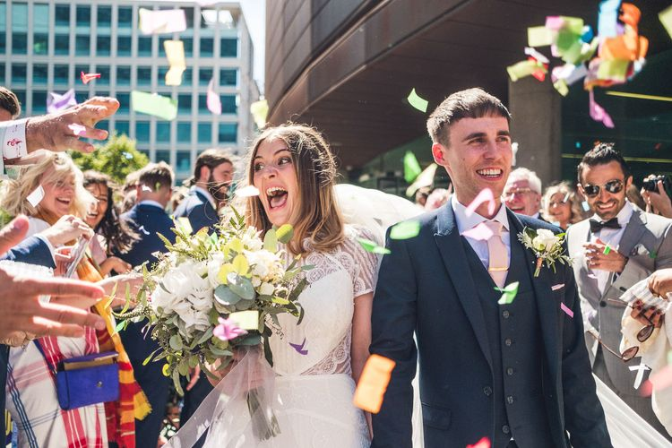 Confetti Moment | Bride in Lenora Watters Gown | Groom in Navy Suit | Contemporary City Wedding at People's History Museum & Hope Mill Theatre, Manchester Planned by Alternative Weddings MCR | Babb Photography